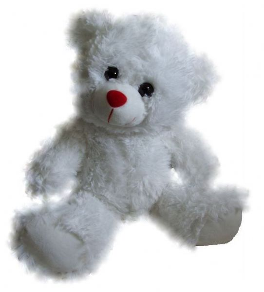 Red Nose White Bear 15in - Pre stuffed